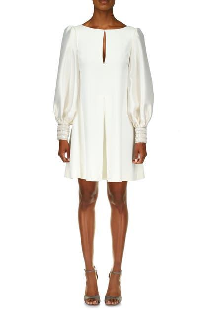 Badgley Mischka LONG SLEEVE EMBROIDERED CUFF MIKADO SHIFT DRESS
