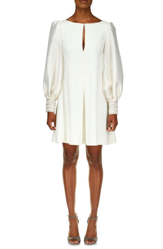 BADGLEY MISCHKA Dresses LONG SLEEVE EMBROIDERED CUFF MIKADO SHIFT DRESS