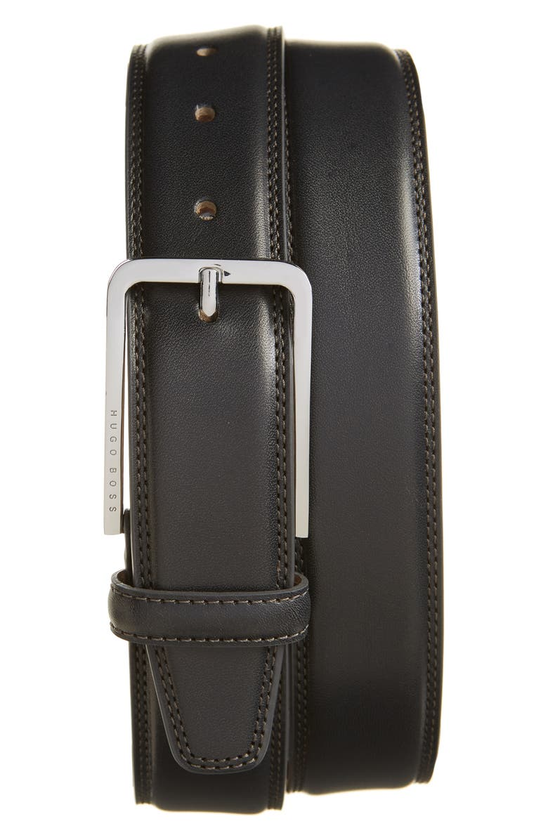 BOSS Calis-E Leather Belt, Main, color, DARK GREY