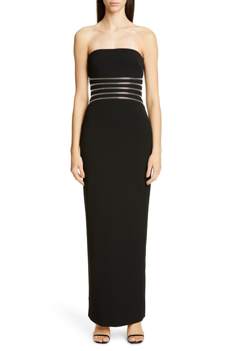 ALEXANDER WANG Zipper Waist Strapless Gown, Main, color, BLACK