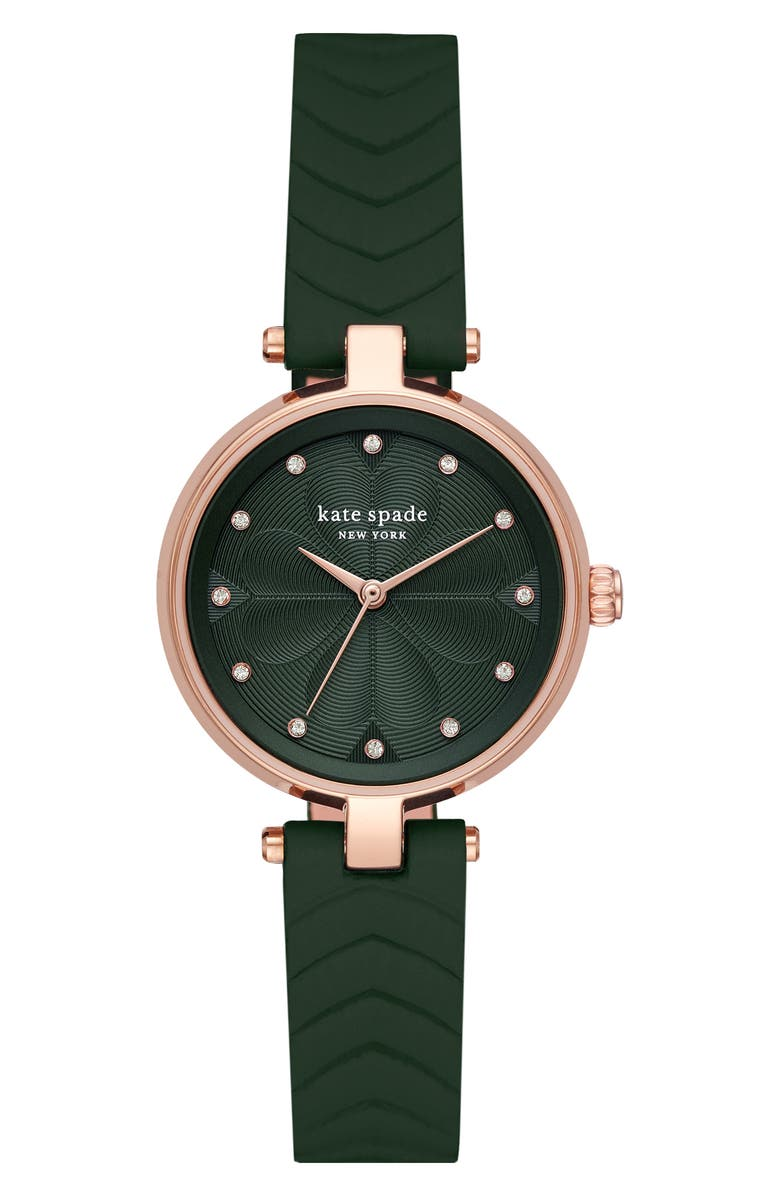 KATE SPADE NEW YORK annadale leather strap watch, 30mm, Main, color, GREEN/ ROSE GOLD