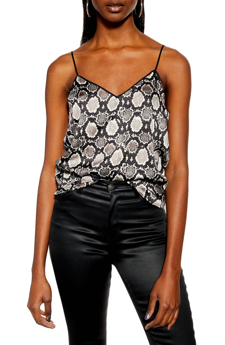TOPSHOP Snake Print Piped Camisole, Main, color, 020