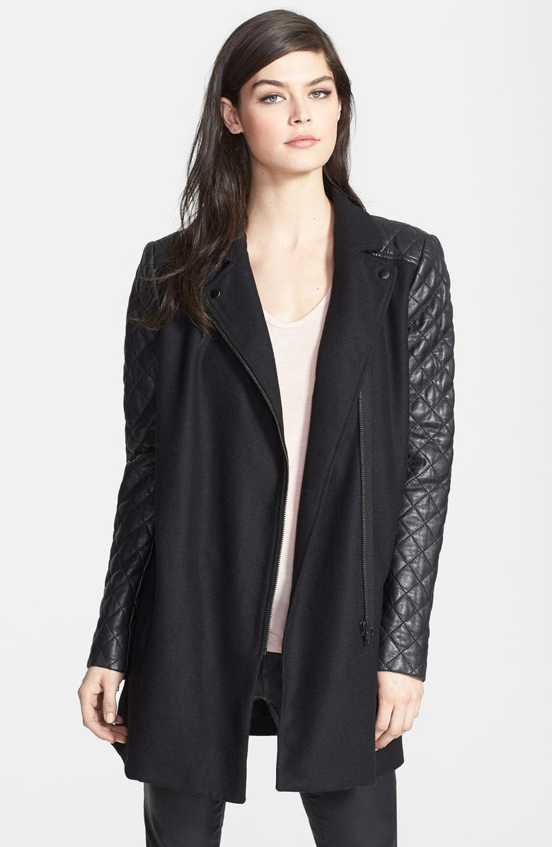 TROUVÉ Leather Sleeve Wool Jacket, Main, color, 001