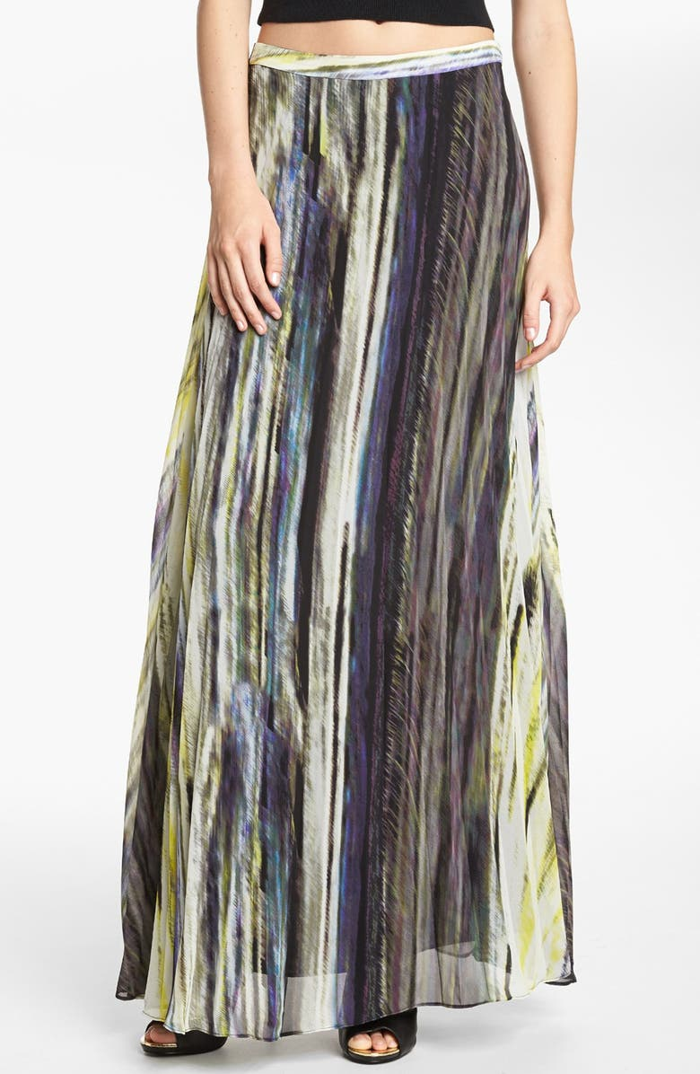LIKE MYNDED Pleated Print Maxi Skirt, Main, color, 300