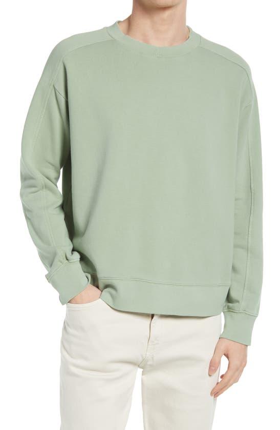 Club Monaco Green Oversized Tea Dyed Crew Sweatshirt In Size M