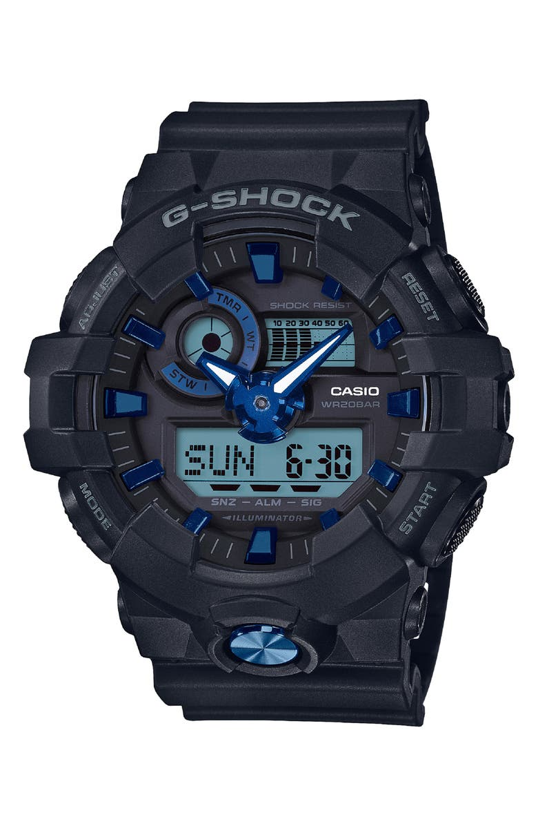 G-SHOCK BABY-G Military Ana-Digi Watch, 53mm, Main, color, BLACK/ BLUE MULTI