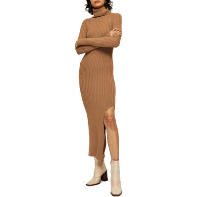 Topshop Turtleneck Long Sleeve Sweater Dress, Beige
