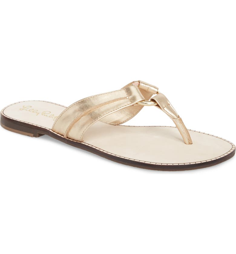 LILLY PULITZER<SUP>®</SUP> McKim Metallic Flip Flop, Main, color, GOLD METALLIC LEATHER