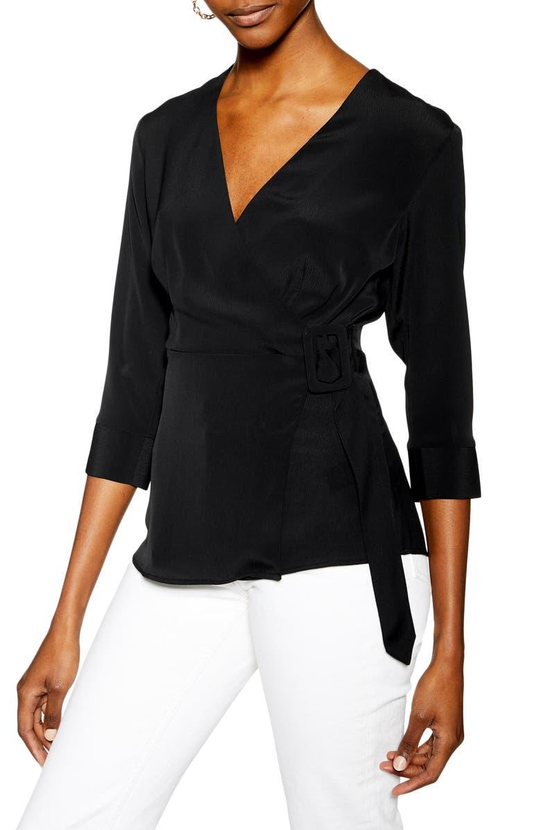 TOPSHOP Wrap Blouse, Main, color, BLACK