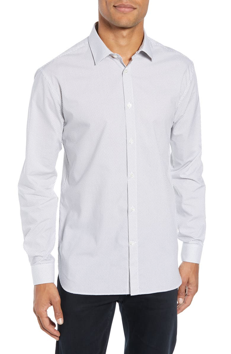 JOHN VARVATOS STAR USA Slim Fit Print Dress Shirt, Main, color, THUNDER GREY