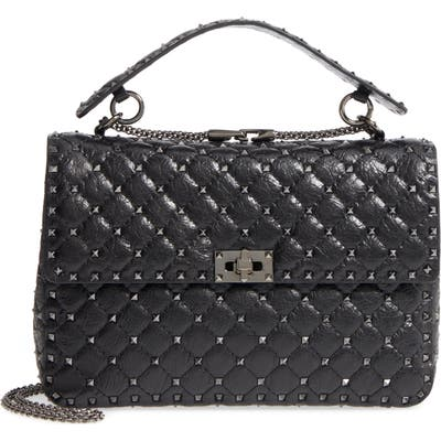 Valentino Garavani Vitello Rockstud Lambskin Leather Shoulder Bag - Black