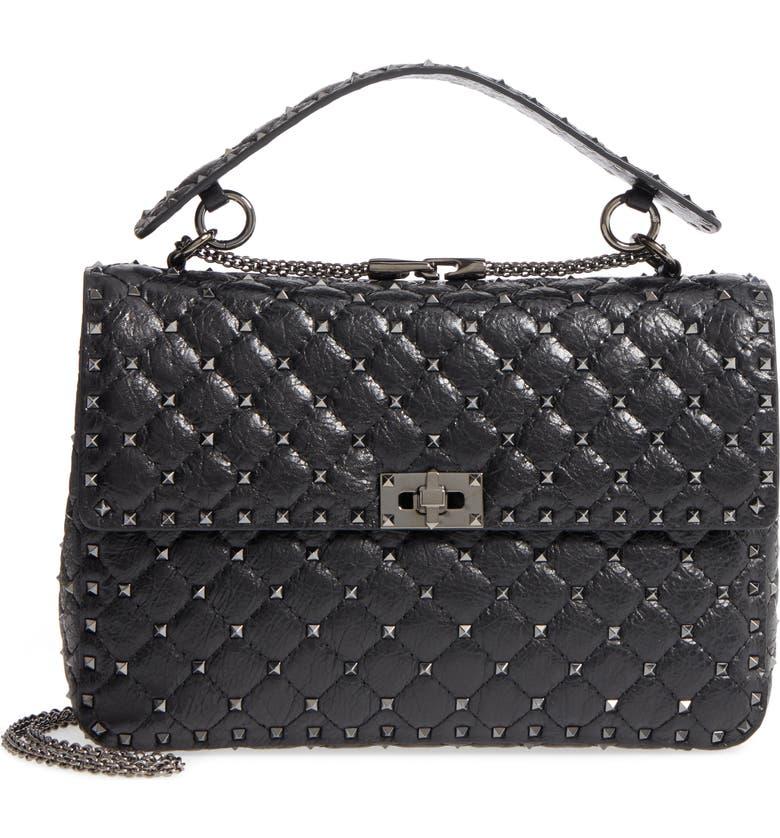 VALENTINO GARAVANI Vitello Rockstud Lambskin Leather Shoulder Bag, Main, color, NERO