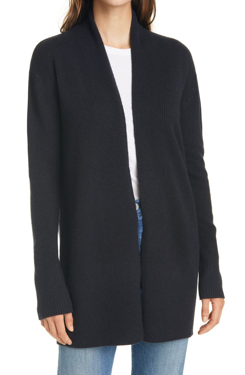 NORDSTROM SIGNATURE Open Front Cashmere Cardigan, Main, color, BLACK