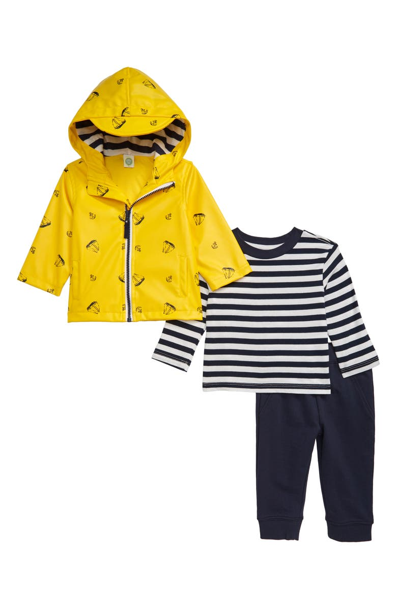 LITTLE ME Sailboat Rain Jacket, T-Shirt & Joggers Set, Main, color, YELLOW