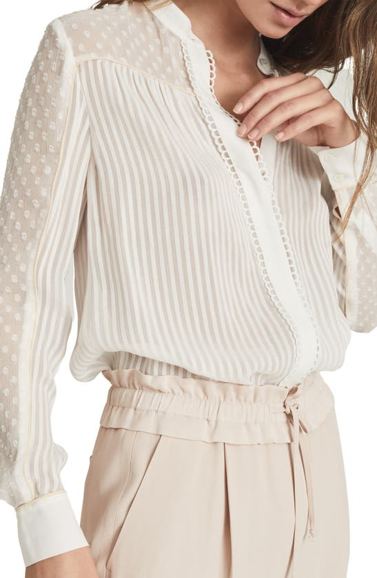 Reiss Blouses CORA MIXED TEXTURE BUTTON-UP BLOUSE