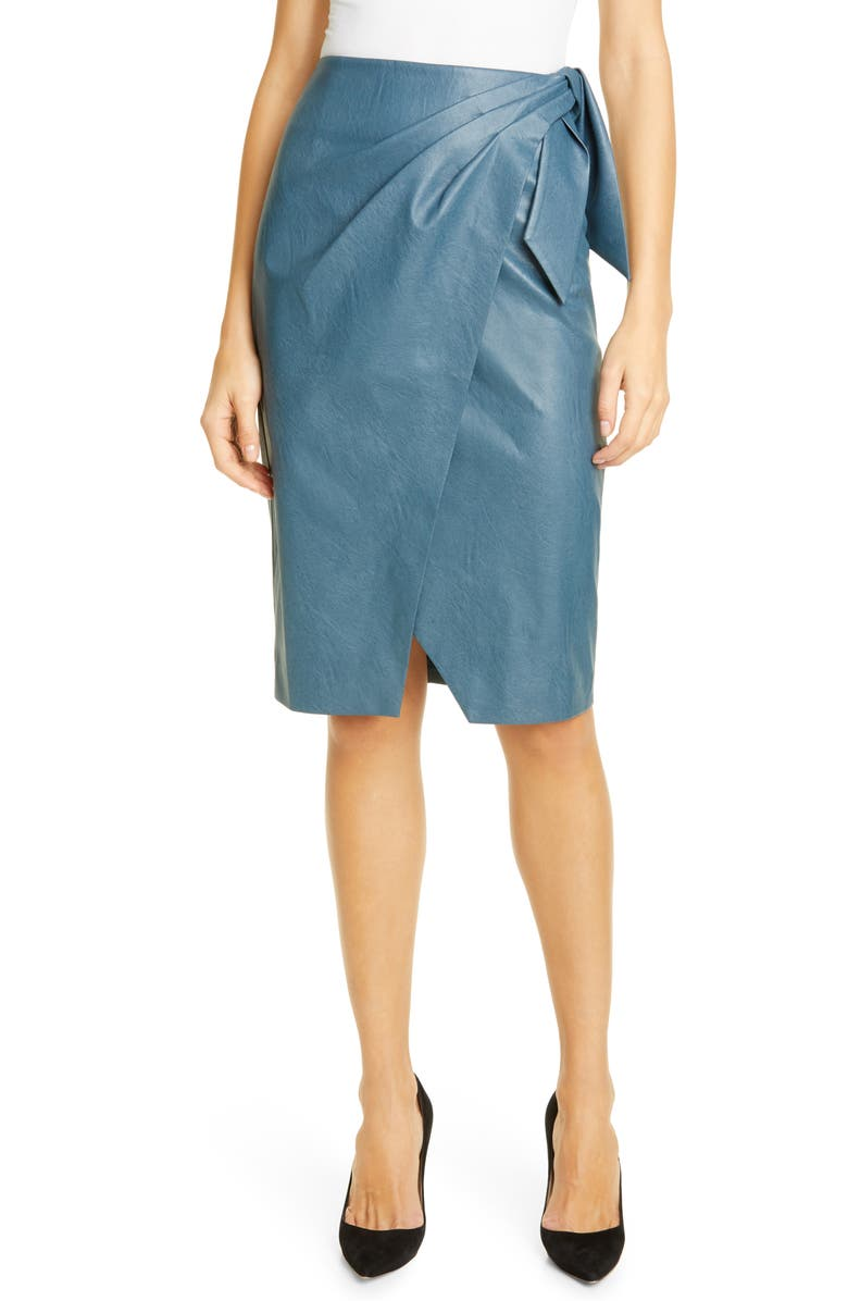 REBECCA TAYLOR Faux Leather Skirt, Main, color, WAVE