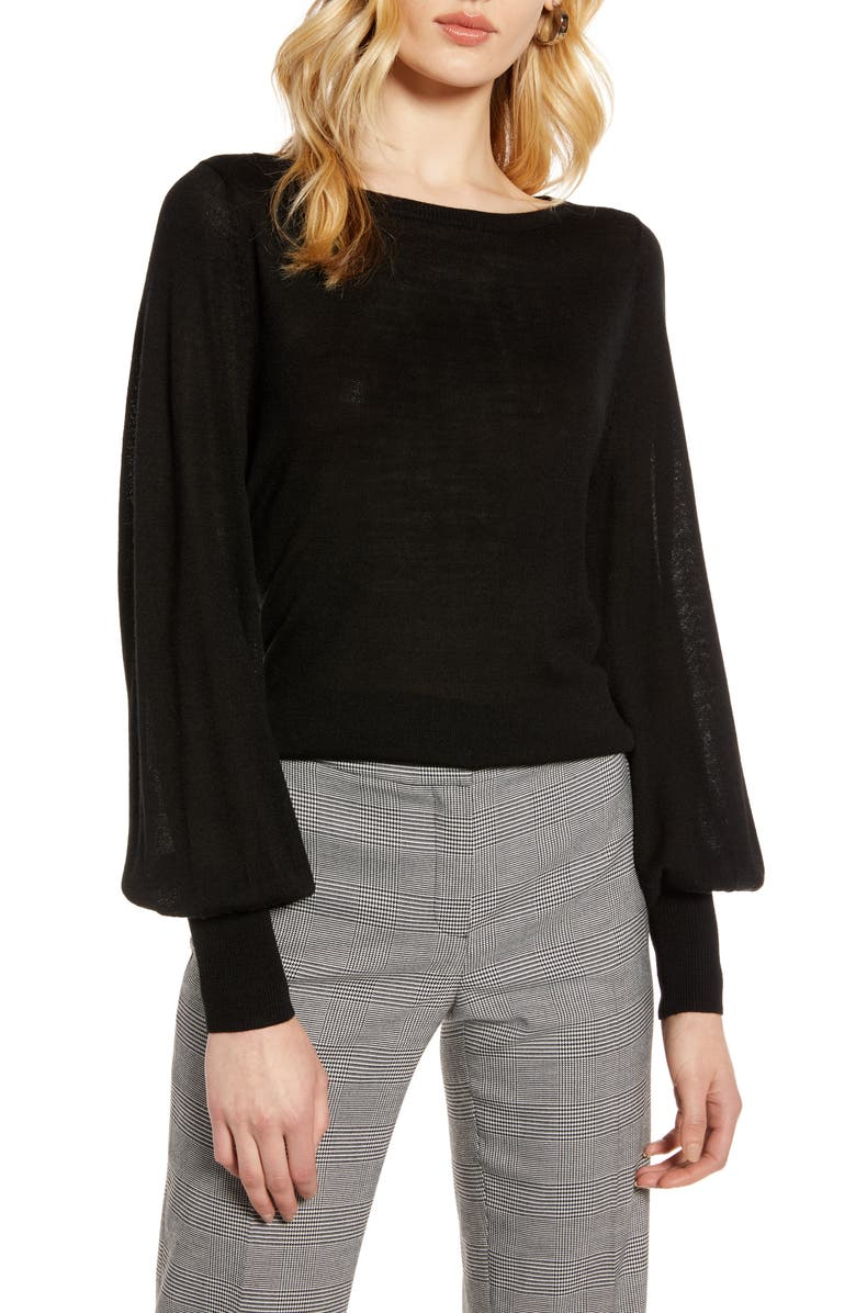 HALOGEN<SUP>®</SUP> Bishop Sleeve Merino Wool Blend Sweater, Main, color, 001