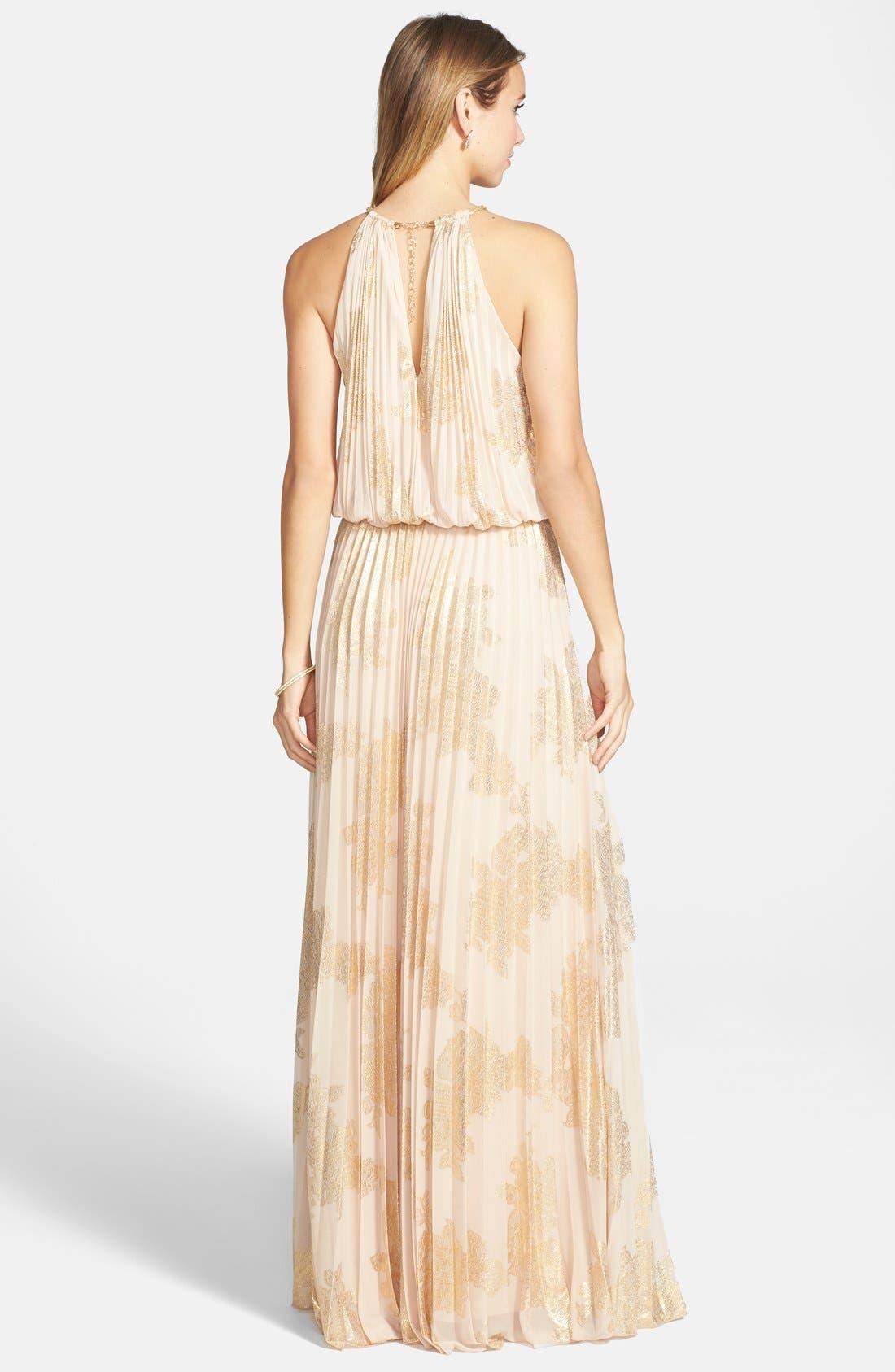 ,                             Foiled Pleated Jersey Blouson Dress,                             Alternate thumbnail 2, color,                             250