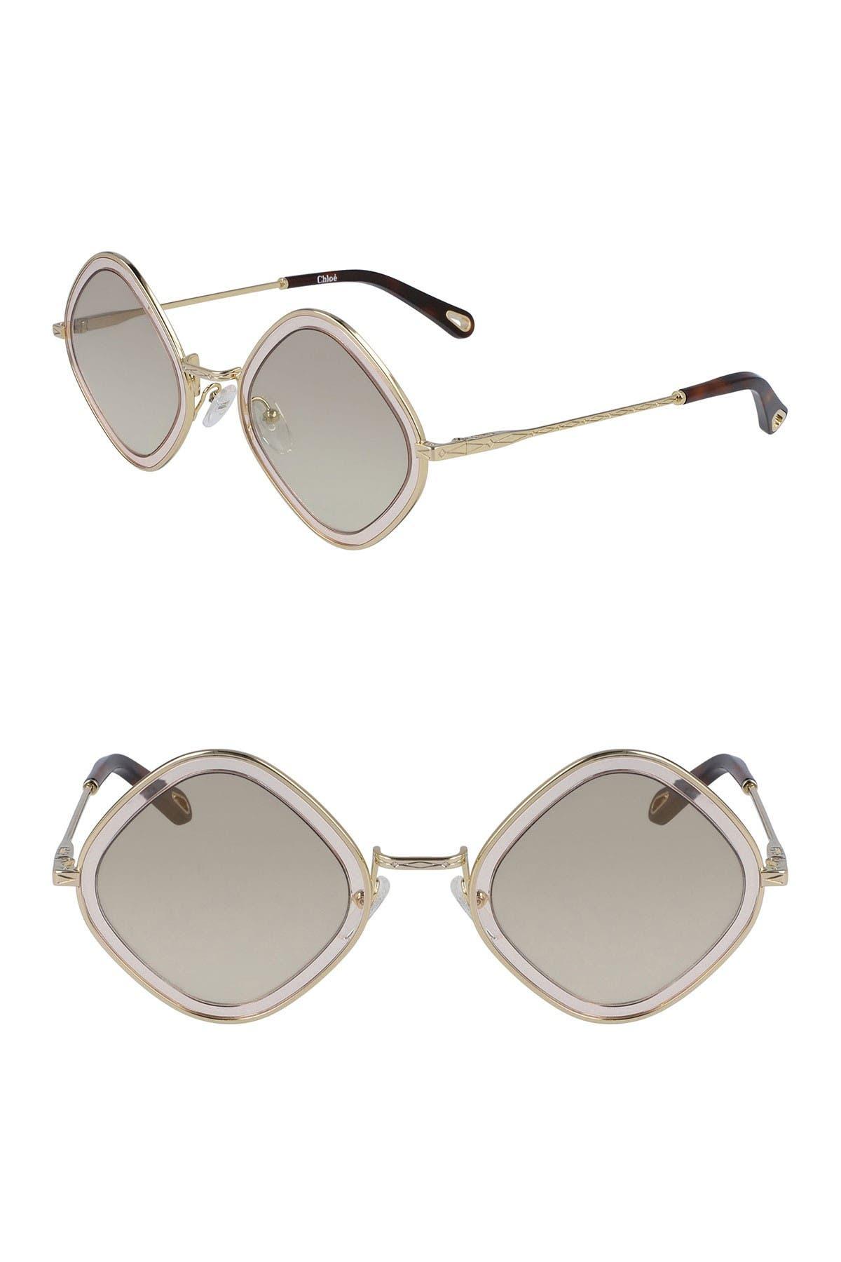 1960s Sunglasses | 70s Sunglasses, 70s Glasses Chloe Mod Rectangle 55mm Sunglasses Size NONE - Gold Lt Pinkgrd Brn at Nordstrom Rack $79.97 AT vintagedancer.com