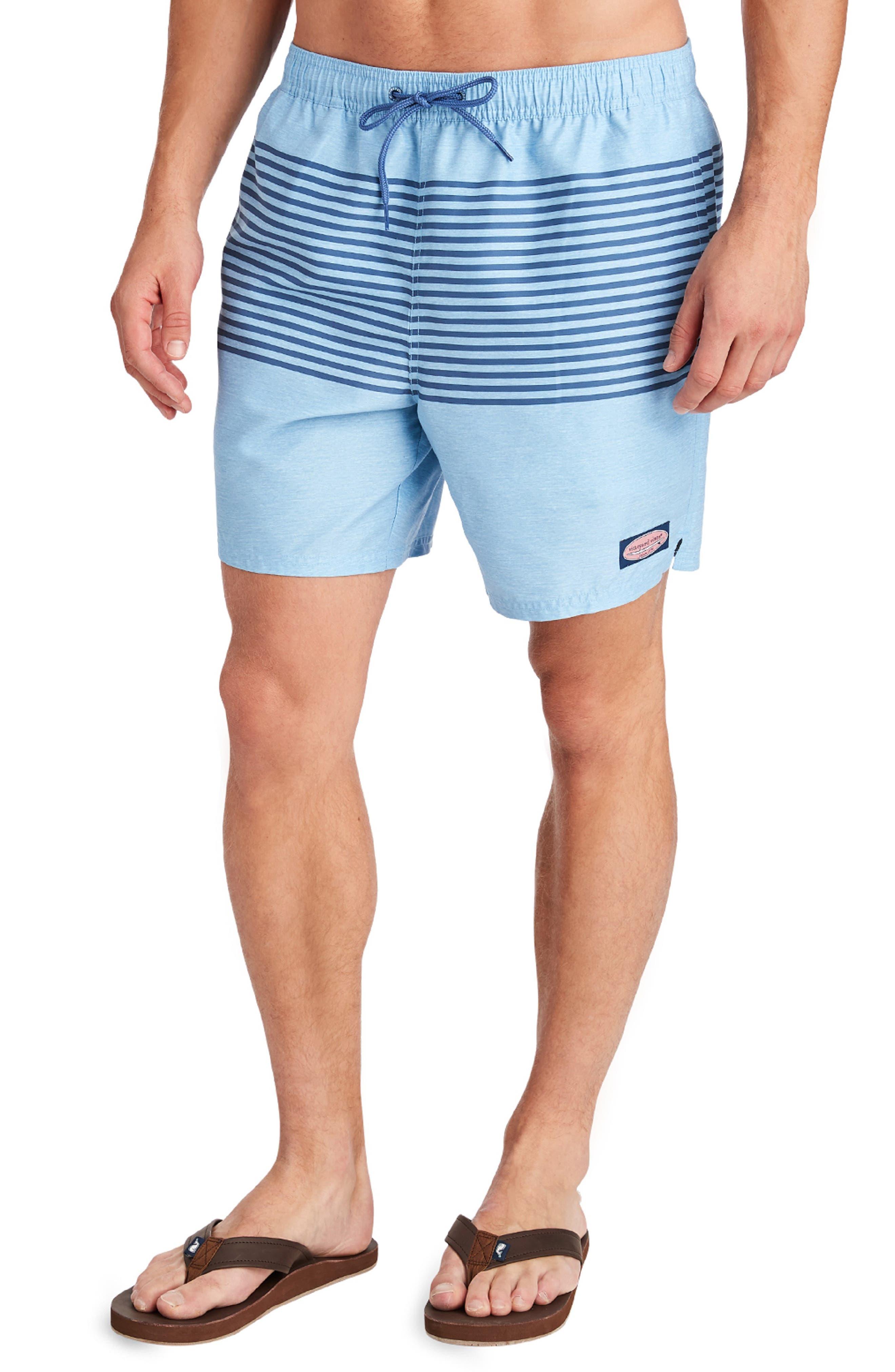 Vineyard Vines Heathered Stripe Chappy Swim Trunks, Blue