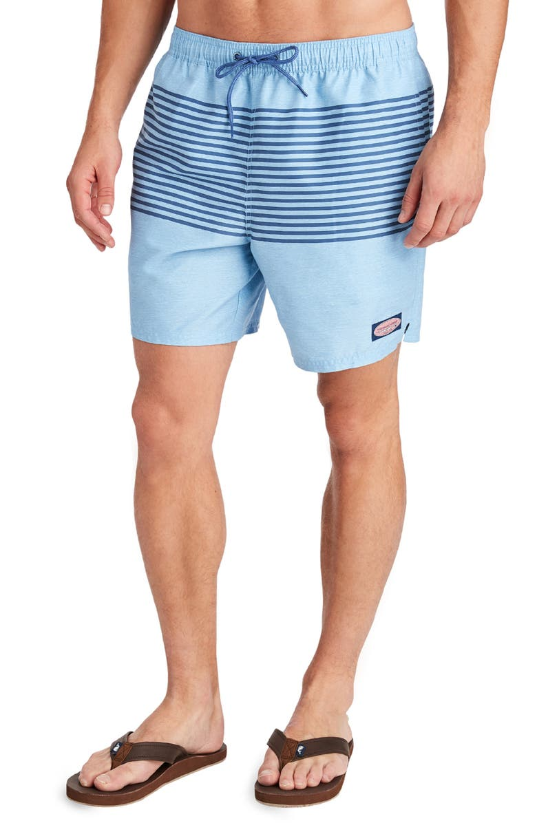 VINEYARD VINES Heathered Stripe Chappy Swim Trunks, Main, color, COASTLINE