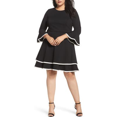 Plus Size Eliza J Bell Sleeve Tiered Fit & Flare Dress, Black