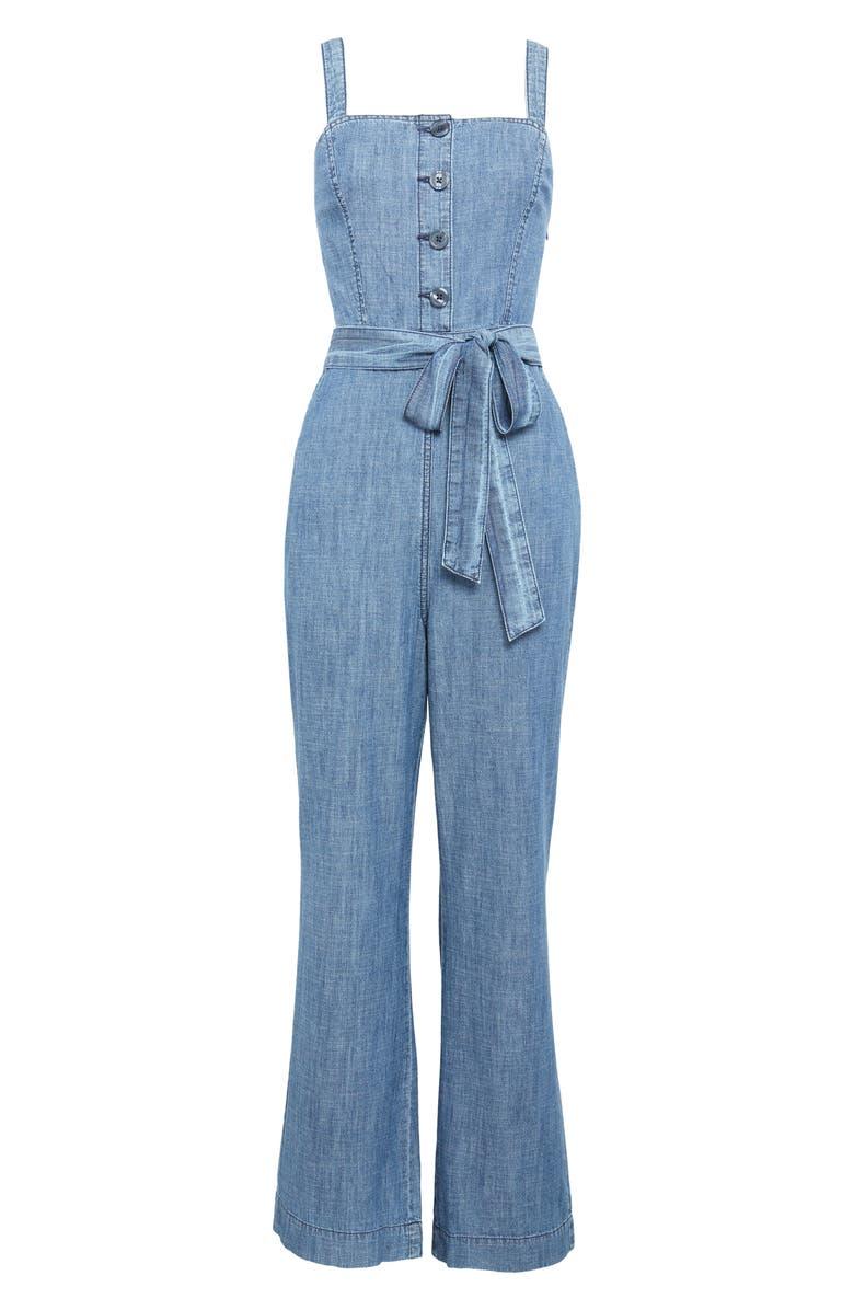 RACHEL PARCELL Sleeveless Chambray Jumpsuit, Main, color, MEDIUM WASH