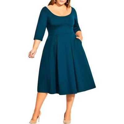 Plus Size City Chic Scoop Neck A-Line Dress, Green