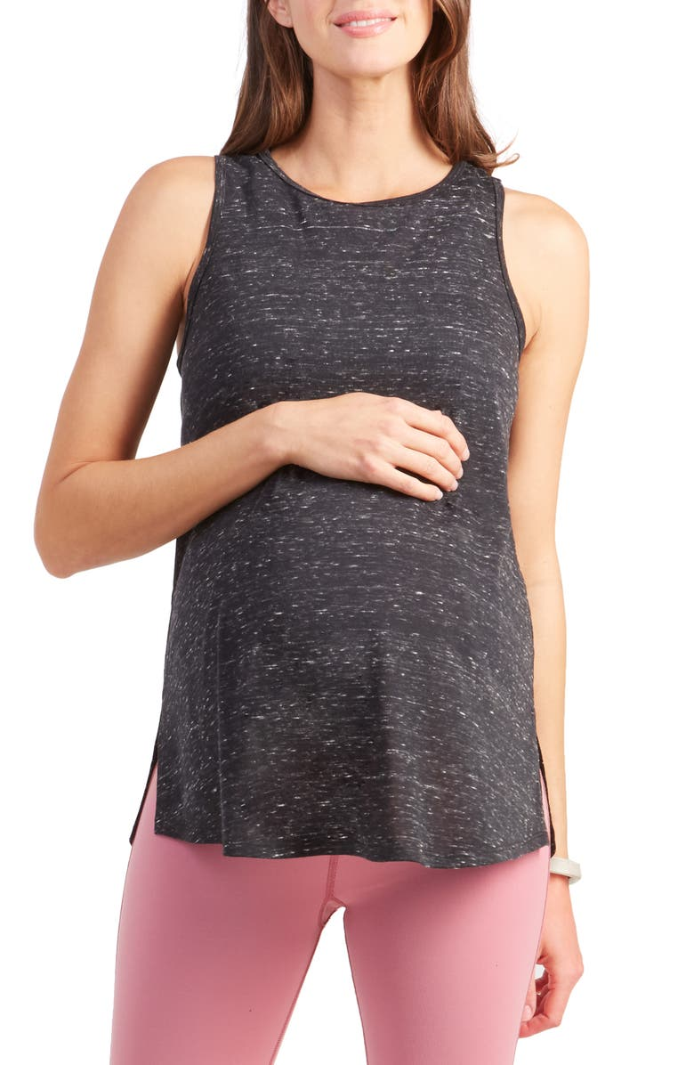 INGRID & ISABEL<SUP>®</SUP> Active Cross Back Maternity Tank, Main, color, BLACK MARBLE