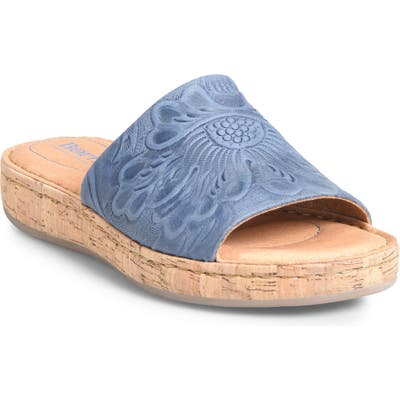 B?rn Fish Lake Tooled Slide Sandal, Blue
