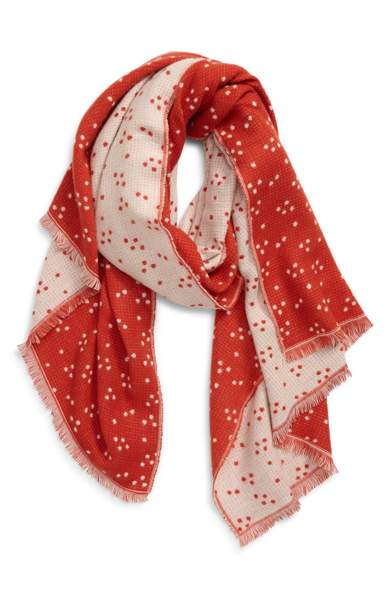 MADEWELL Jacquard Dot Scarf, Main, color, ETRUSCAN CLAY