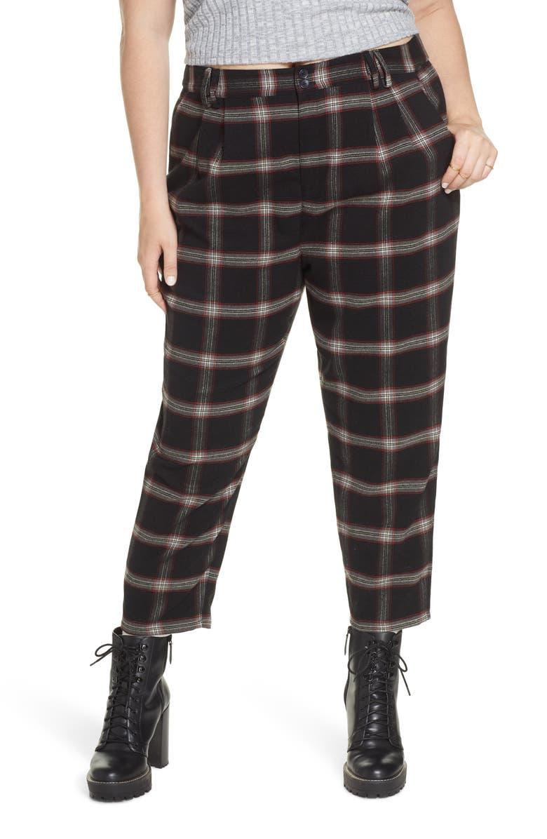 BP. x Claudia Sulewski Plaid Menswear Crop Pants, Main, color, 001