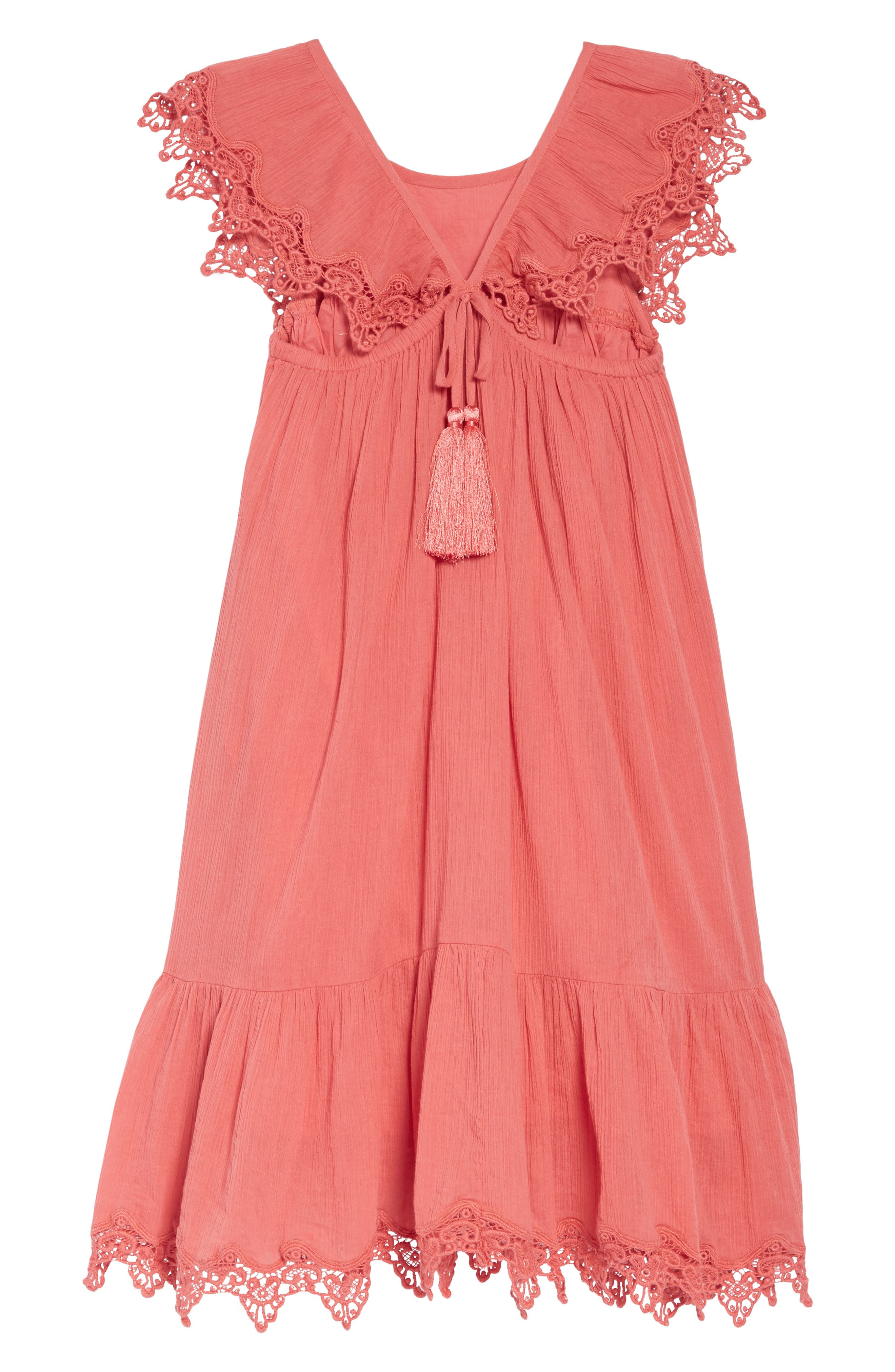 ,                             Aviana Crochet Trim Dress,                             Alternate thumbnail 2, color,                             CORAL