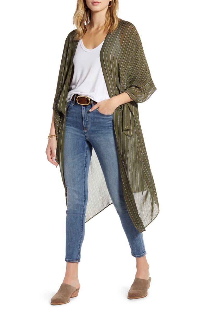 TREASURE & BOND Kite Sleeve Wrap, Main, color, OLIVE BURNT PIN STRIPE
