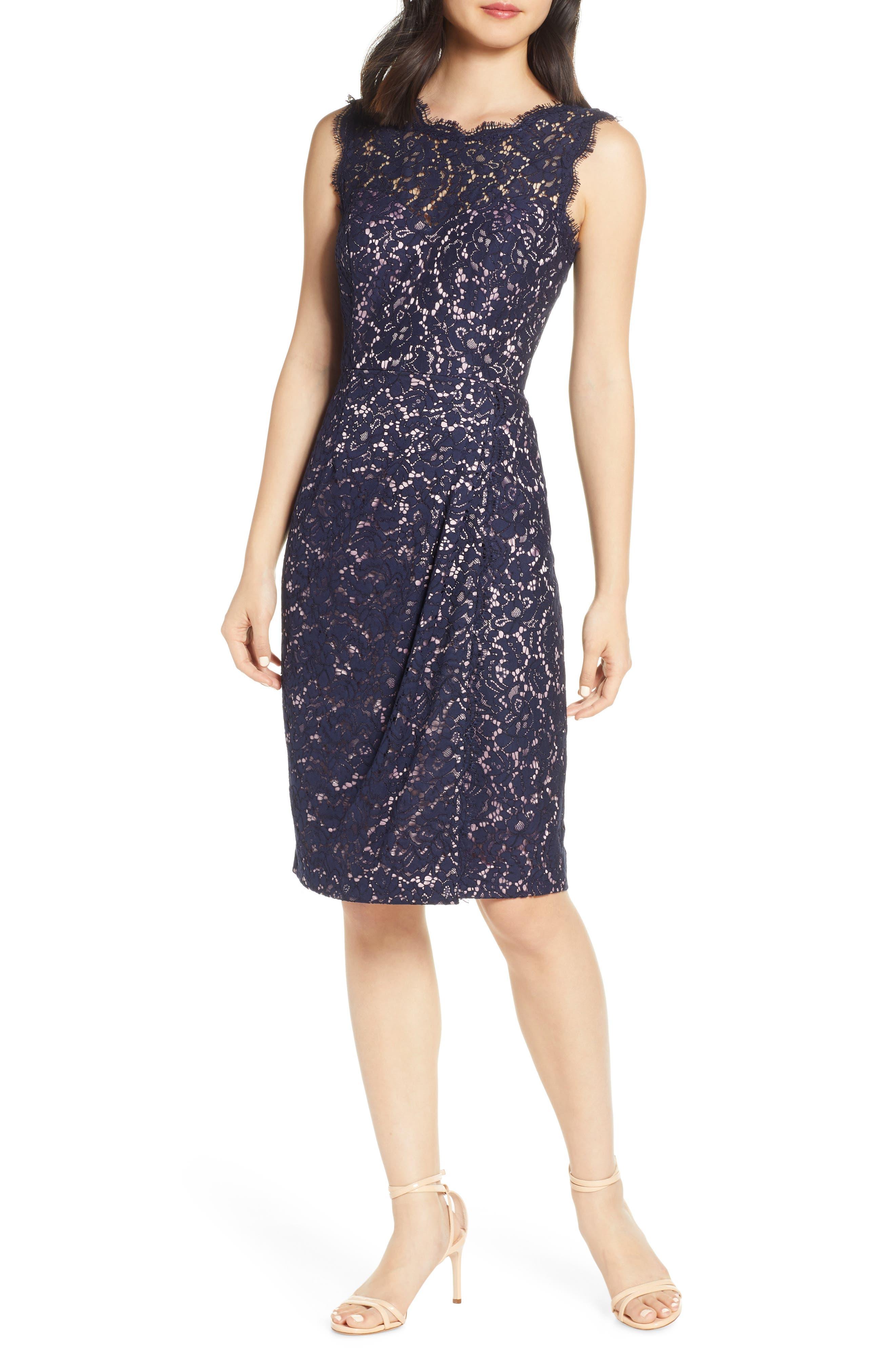 Petite Eliza J Embroidered Lace Sheath Dress, Blue