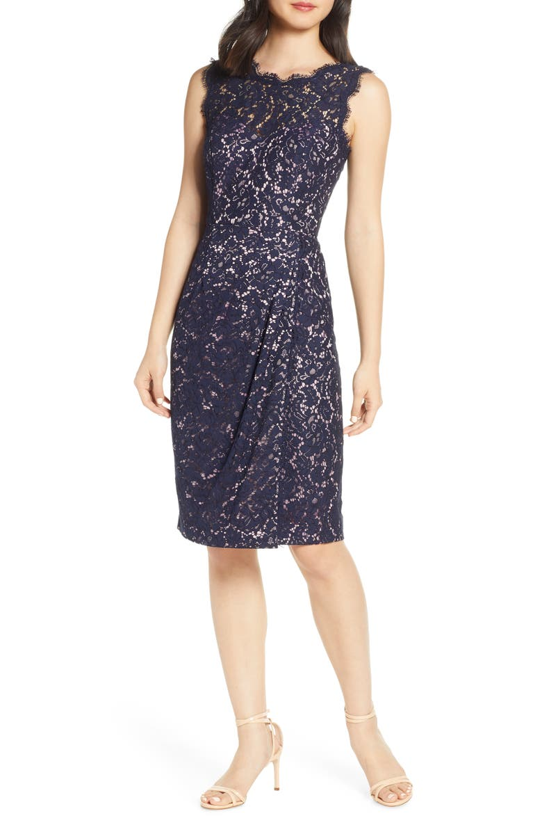 ELIZA J Embroidered Lace Sheath Dress, Main, color, NAVY