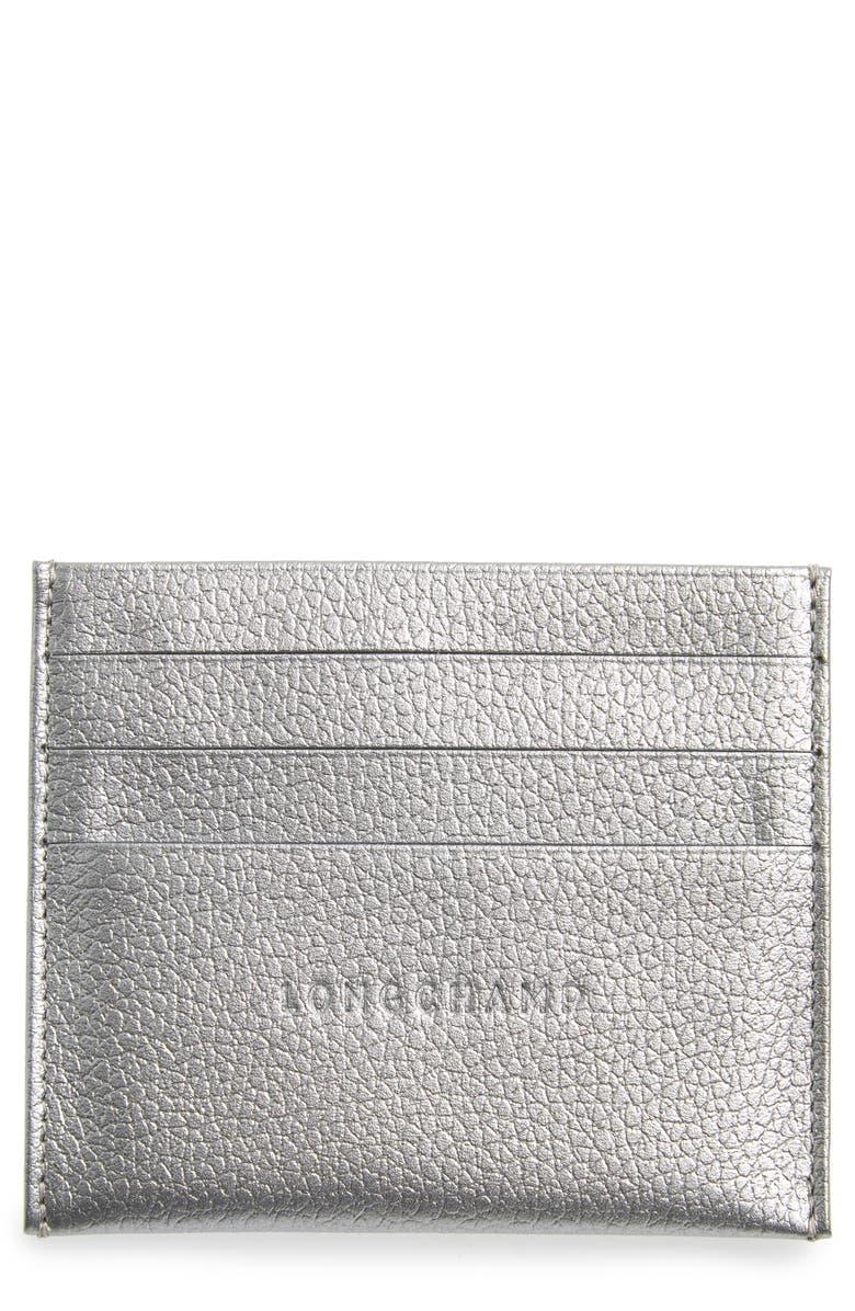 LONGCHAMP 'Le Foulonne' Pebbled Leather Card Holder, Main, color, SILVER