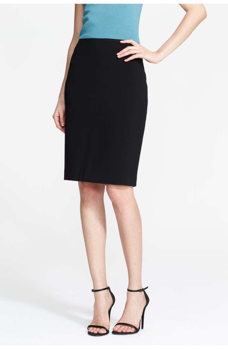 ST. JOHN COLLECTION Crepe Marocain Pencil Skirt, Main, color, 001