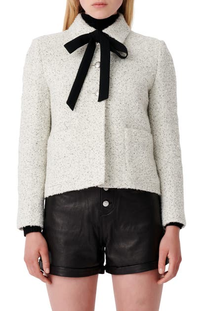 Maje BOW COLLAR TWEED JACKET