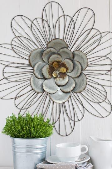 Stratton Home Silver Galvanized Daisy Wall Decor Hautelook