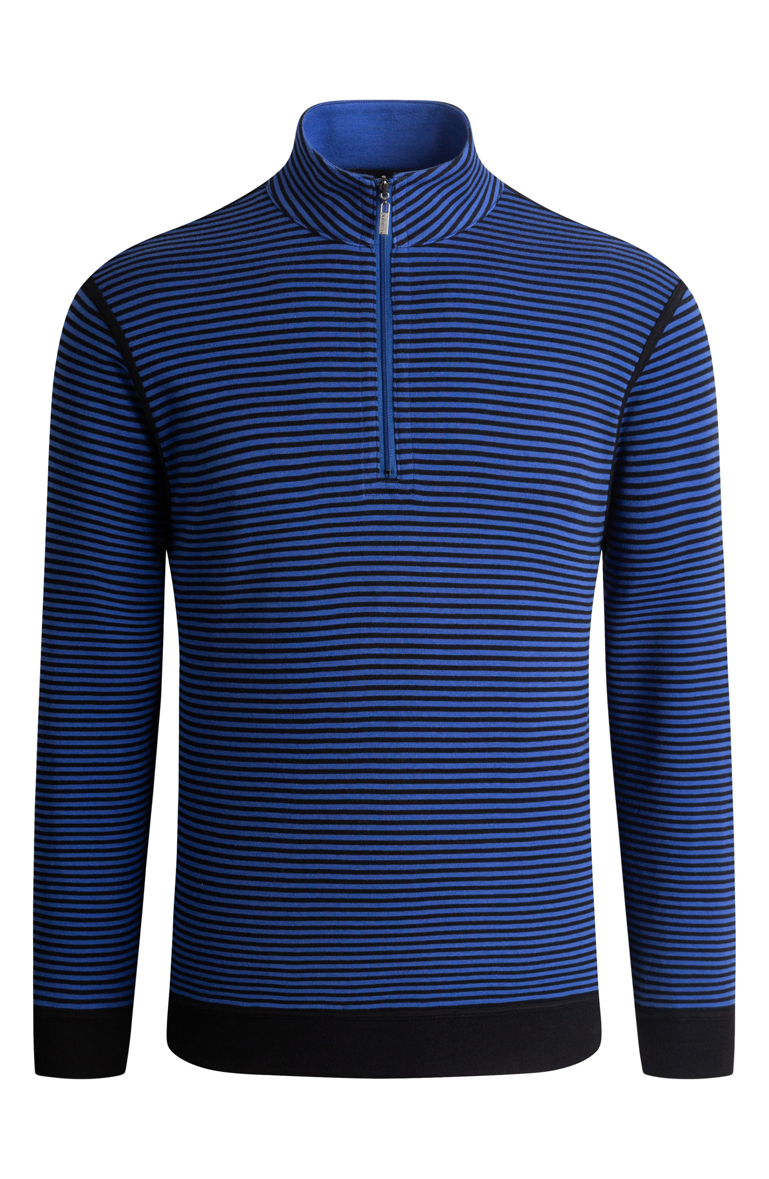 Sporty, casual design defines a smart pullover cut from a soft cotton blend. Style Name: Bugatchi Cotton Blend Quarter Zip Pullover. Style Number: 6129585. Available in stores.