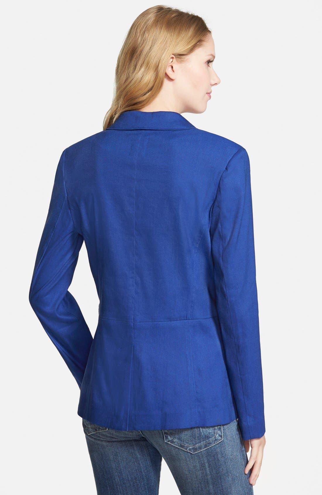 ,                             Seamed Back Linen Blend Blazer,                             Alternate thumbnail 8, color,                             401