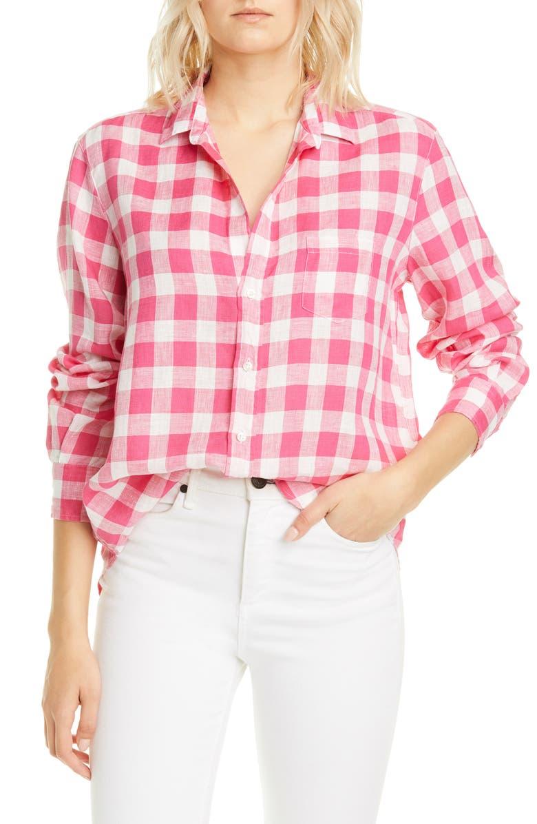FRANK & EILEEN Check Linen Button-Up Shirt, Main, color, LARGE PINK CHECK LINEN