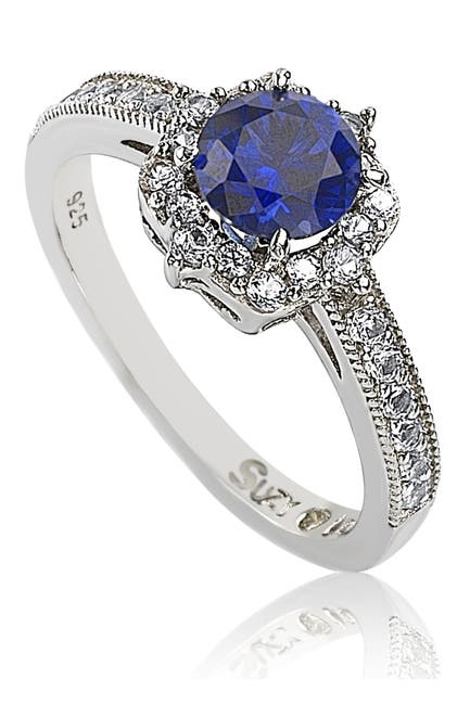 Image of Suzy Levian Sterling Silver Sapphire Center Stone & CZ Ring