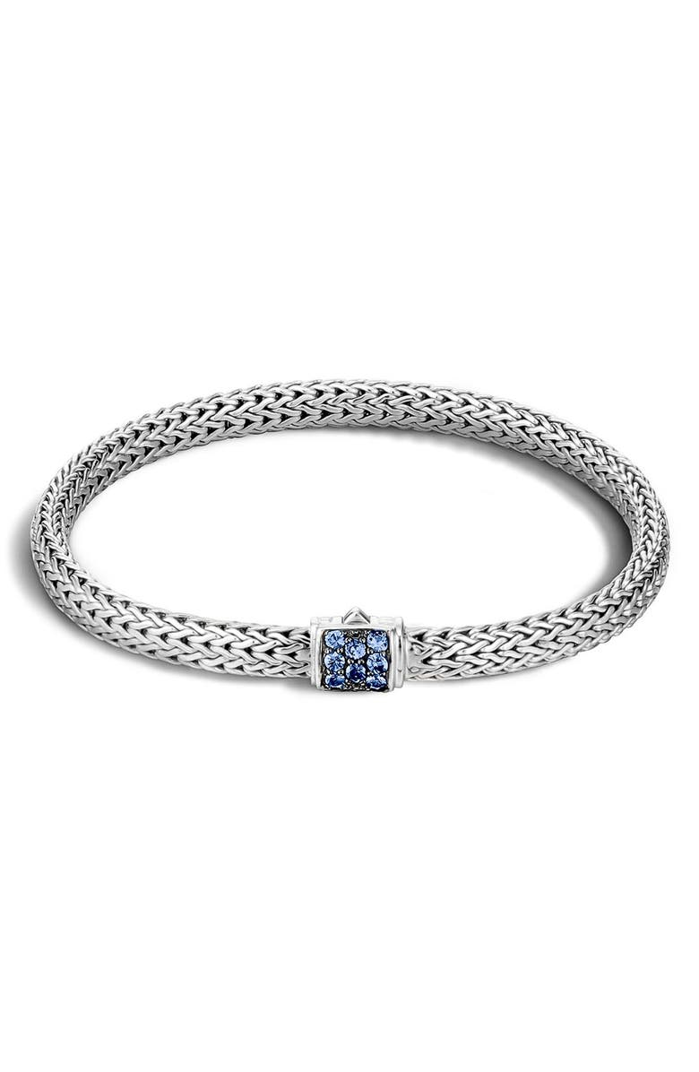 JOHN HARDY Classic Chain 5mm Bracelet, Main, color, SILVER/ BLUE SAPPHIRE