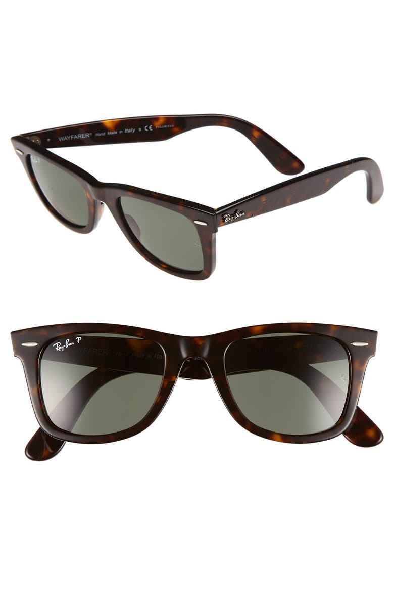 RAY-BAN 'Classic Wayfarer' 50mm Polarized Sunglasses, Main, color, TORTOISE/ GREEN P