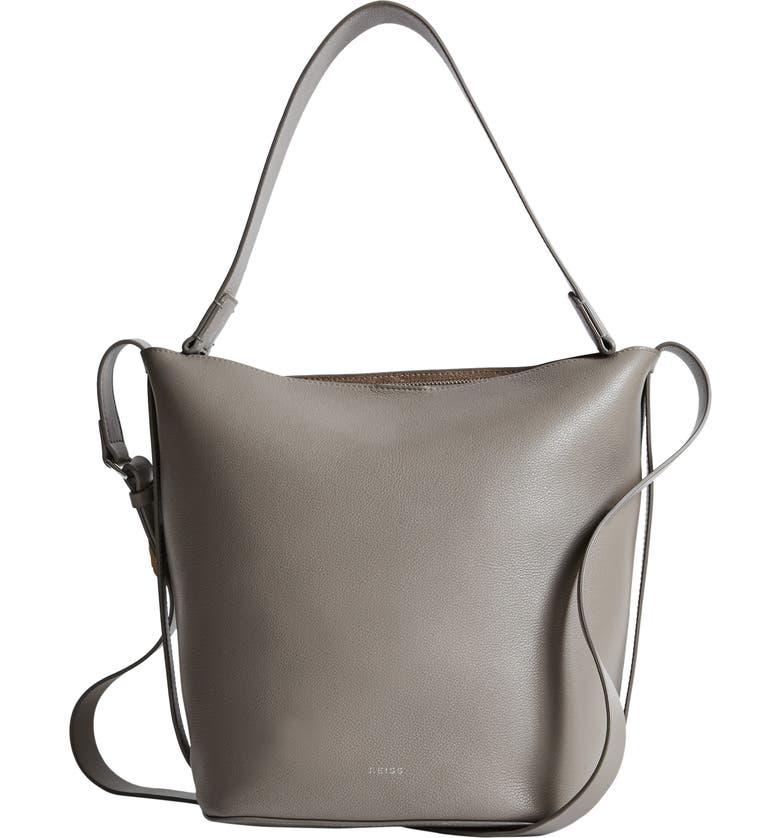 REISS Hudson Leather Bucket Bag, Main, color, ELEPHANT GREY