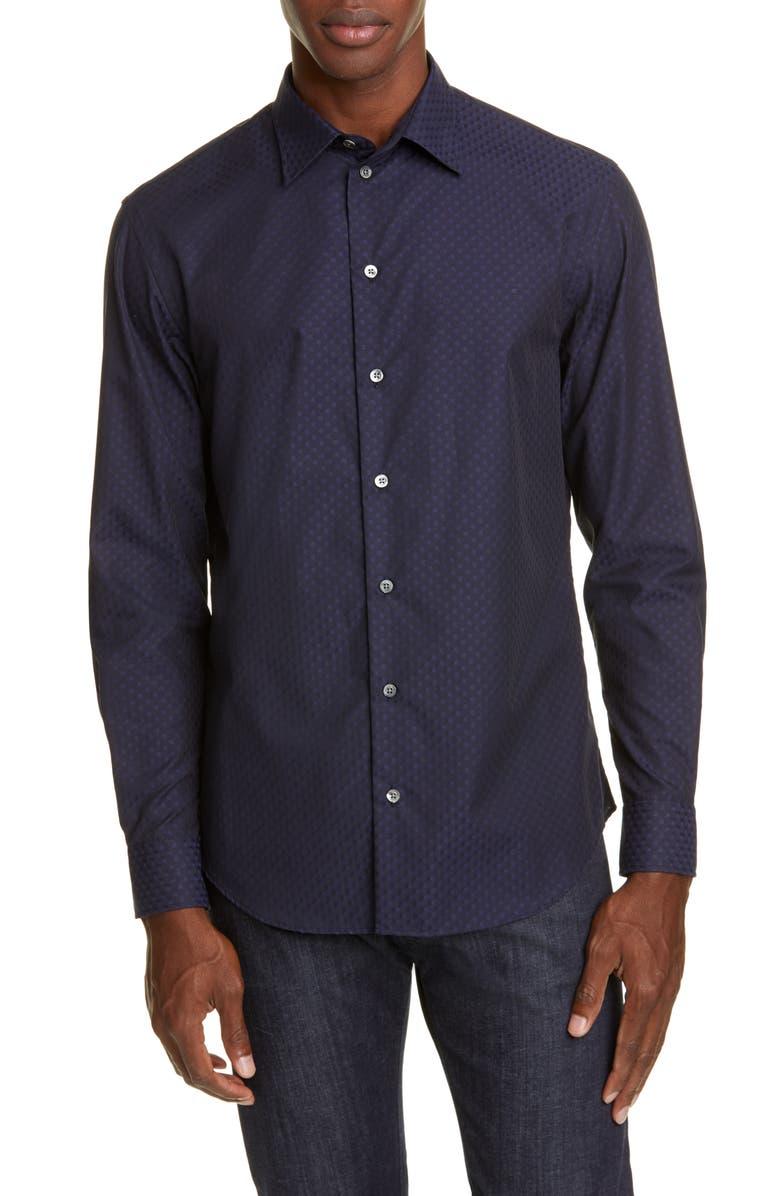 EMPORIO ARMANI Trim Fit Button-Up Shirt, Main, color, 410