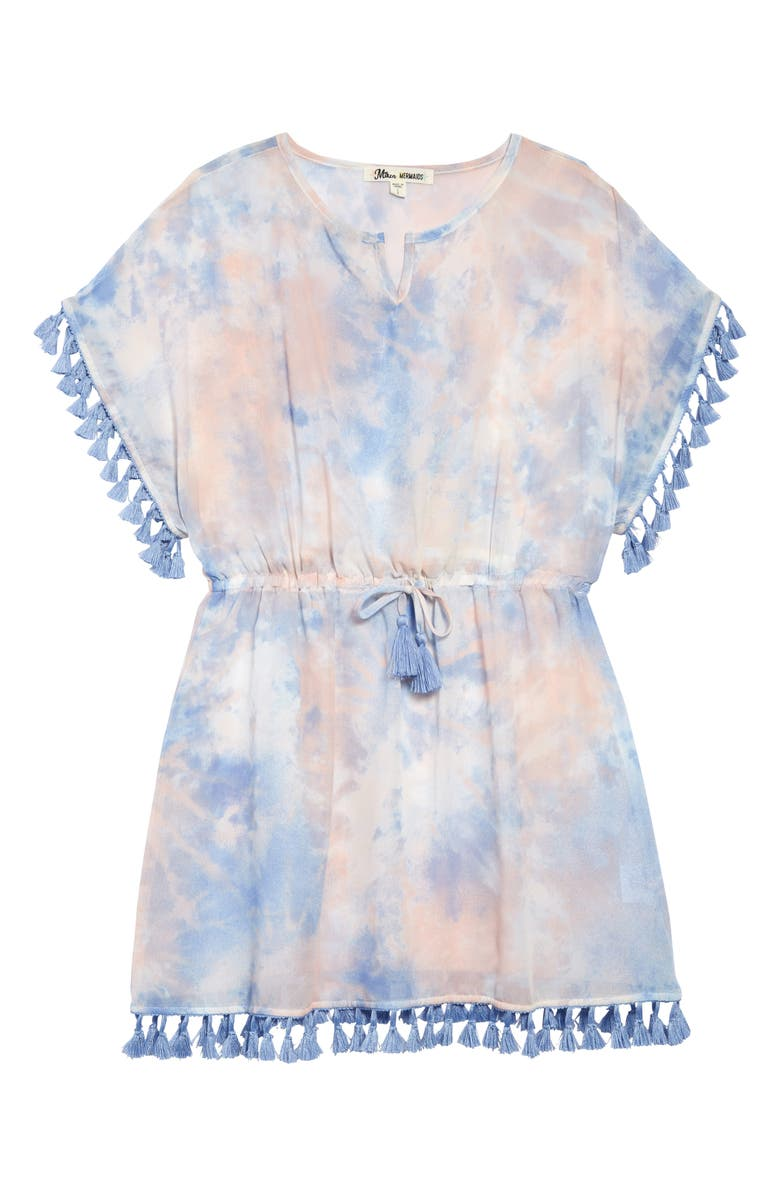 MIKEN SWIM Tassel Cover-Up Dress, Main, color, TROPICAL PEACH/HYRDRANGEA