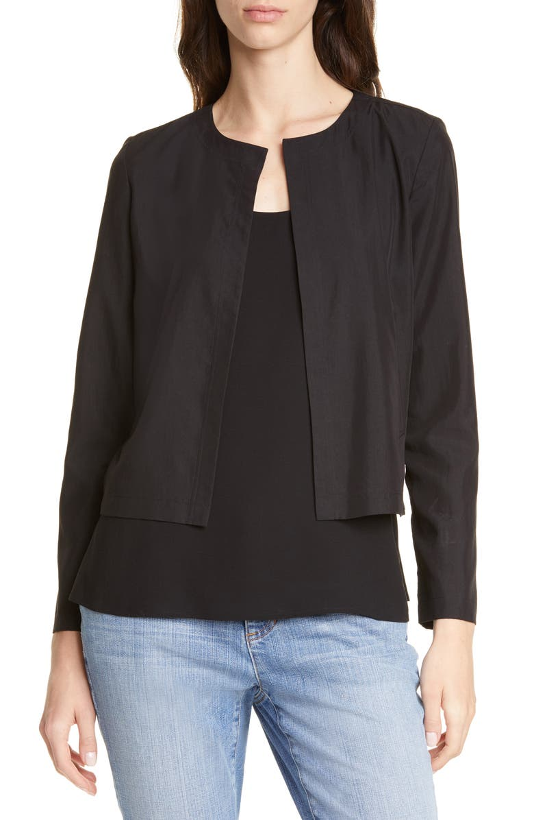 EILEEN FISHER Crop Tencel<sup>®</sup> Lyocell Blend Jacket, Main, color, 001